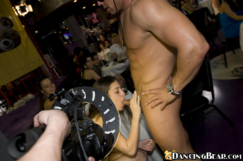 Brunettes and blondes do blowjobs on a clothed party with a stripper