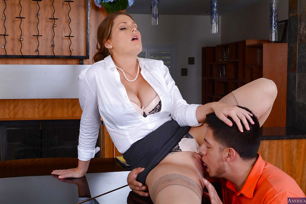 Mature teacher gets her love muffins squeezed and licked
