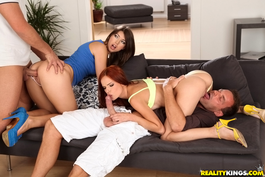 Susana Melo and Susan Ayn enjoying a hardcore groupsex with two dudes