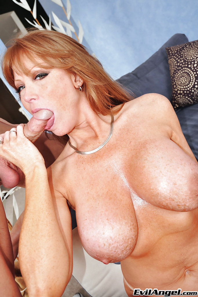 Mature blowjob by big tit mature