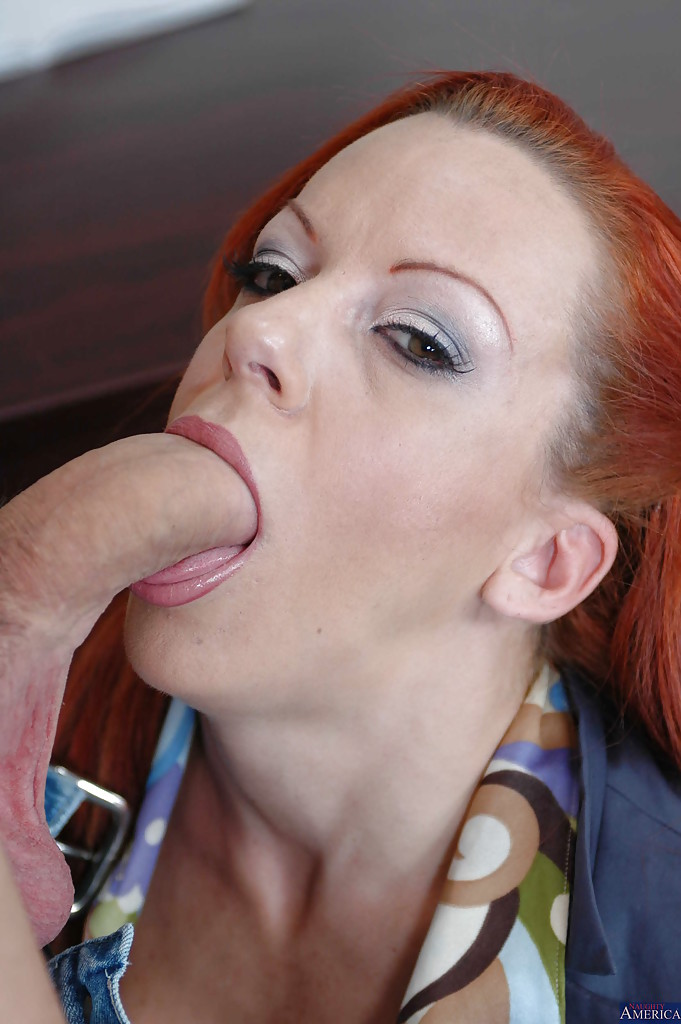 Hot redhead milf sucks big cock