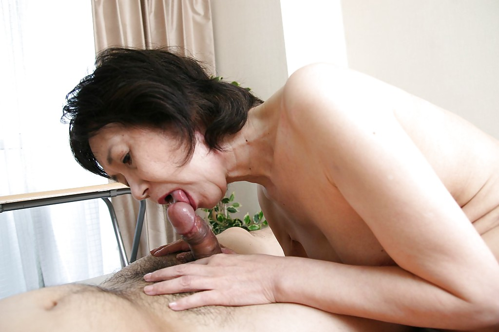 Japanese granny blowjob