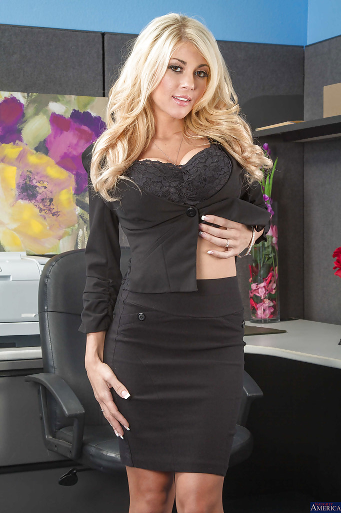 fake tits blonde office fuck -