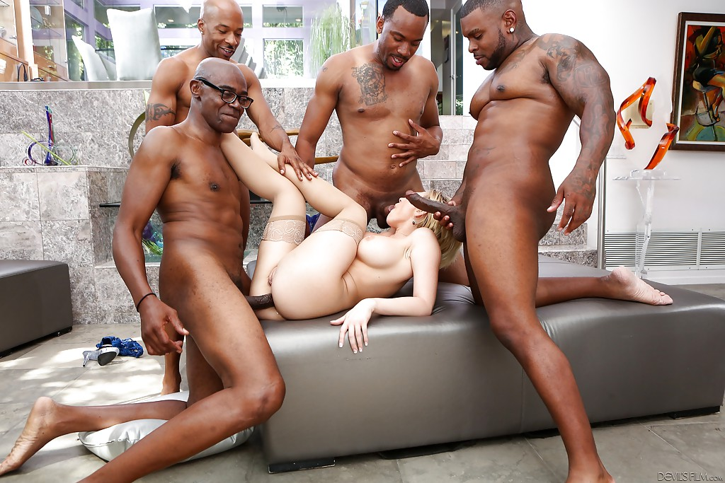 Interracial gang bang