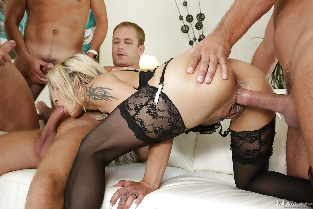 image Beautiful blond gangbang