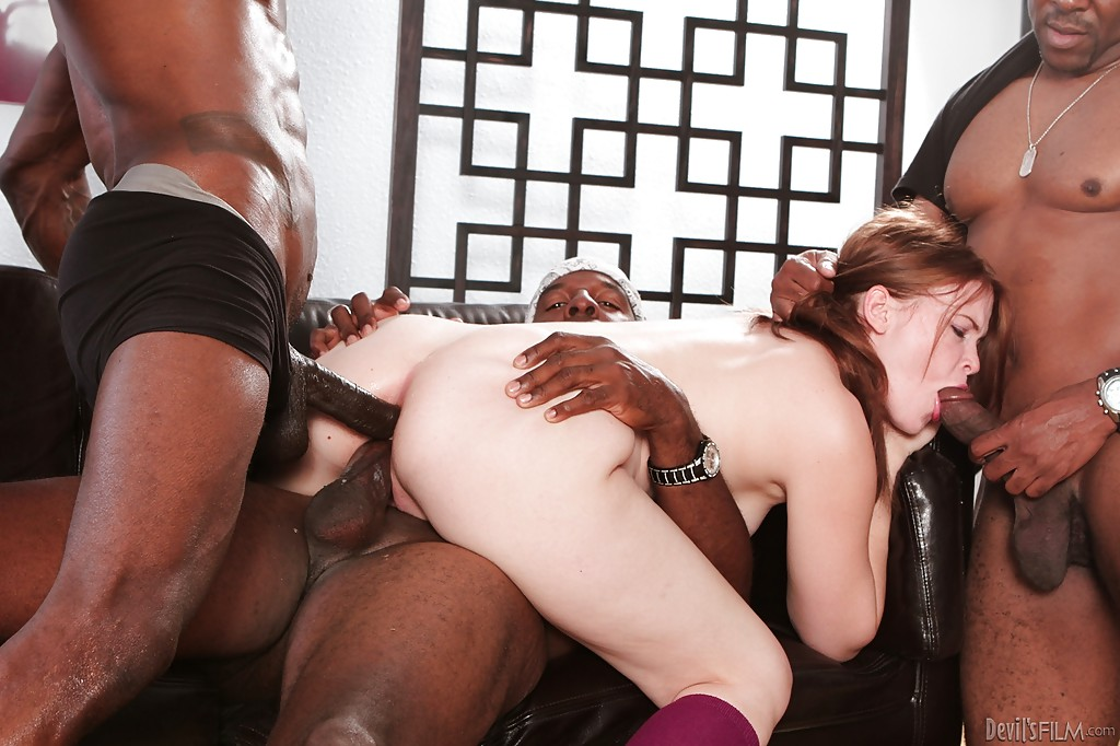 Extremely risky public interracial gangbang.