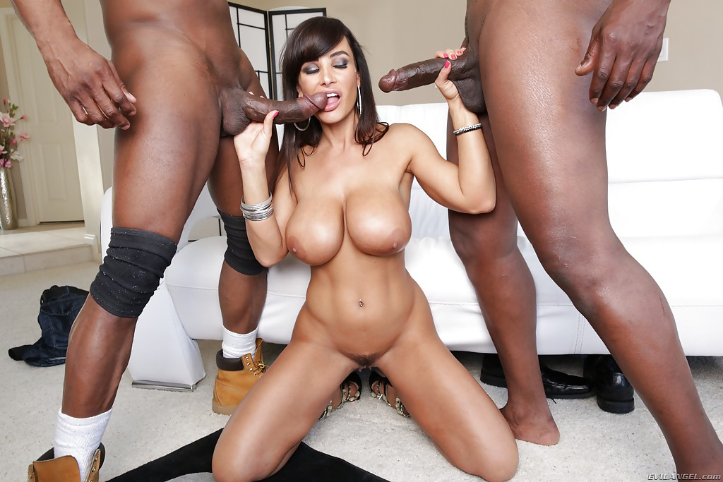 Lisa Ann Fucks With Two Big Black Dicks In The Same Time So Dam Hard