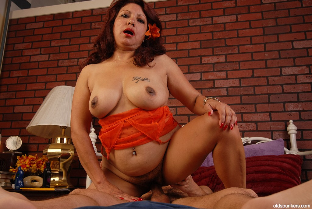 Debella is a saucy old spunker in stockings