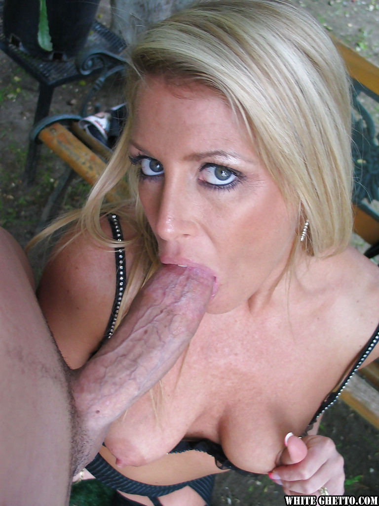 Sweet blonde Ginger Spice is giving a spicy deep blowjob ...