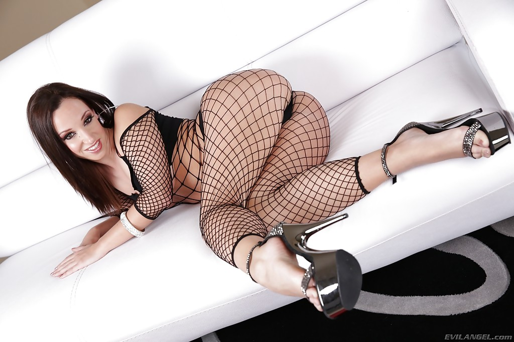 Sasha Brunette Strip Lingerie Fishnet Chair Porn00 1