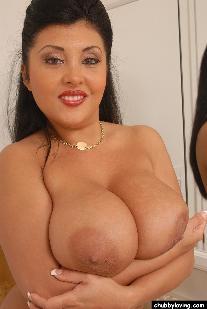 image Chubby shows her amazing tits for a while
