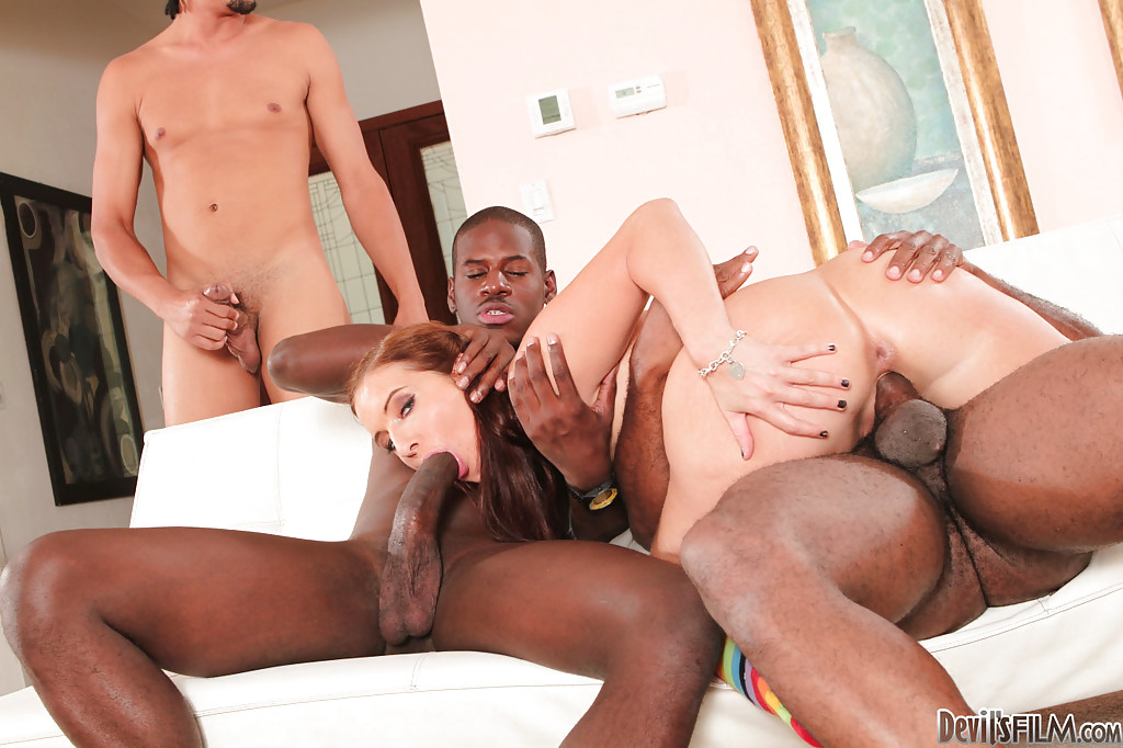 Hot interracial gangbang