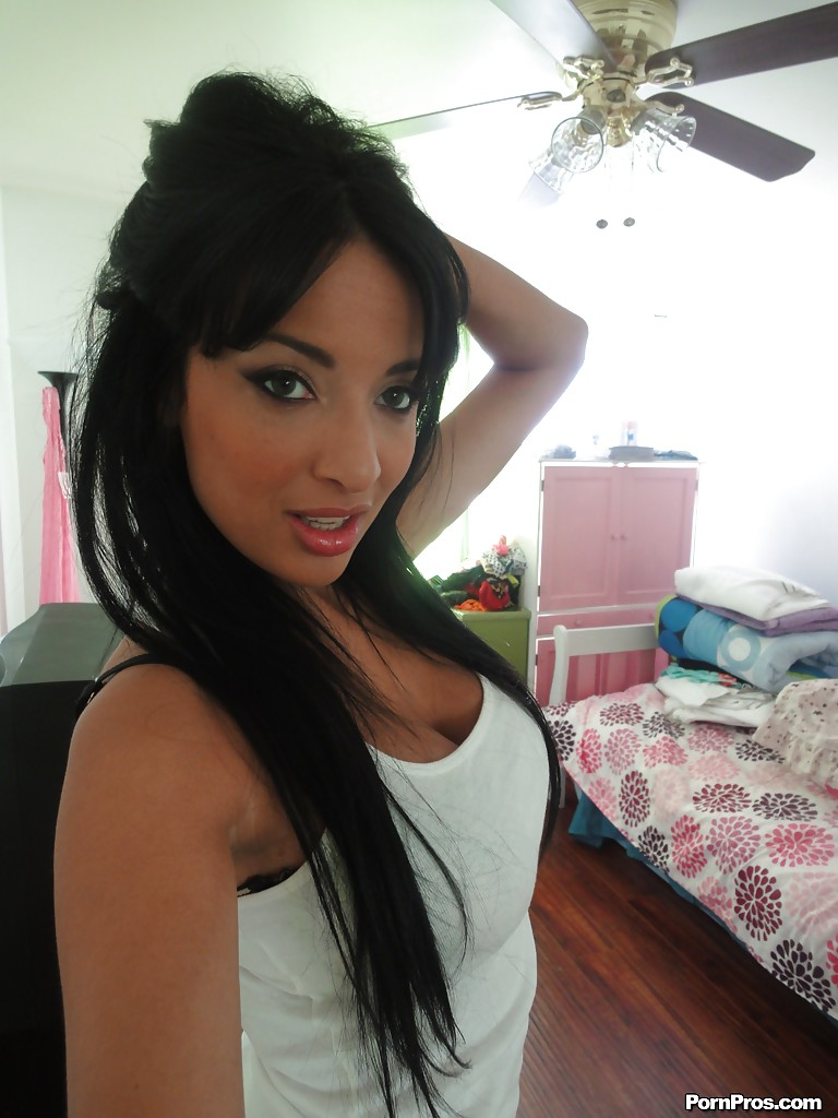 slutty latina female anissa kate films her own nude solo show