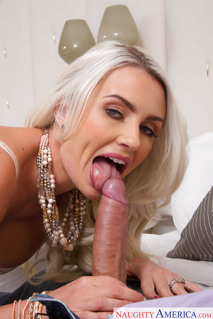 Blonde wife Gigi Allens sucking big cock in sexy white ...