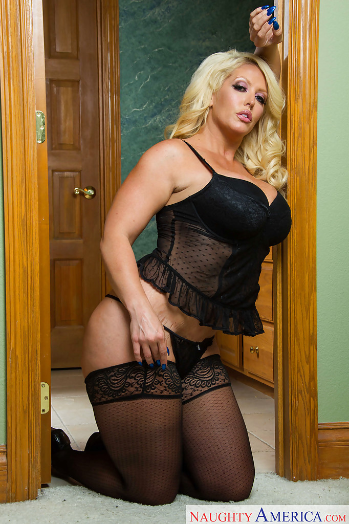 ... Blonde fatty Alura Jenson poses in lingerie and unleashes big titties  ...