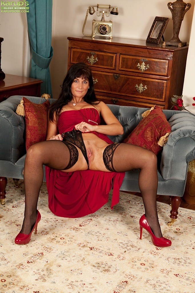 Older women in black stockings