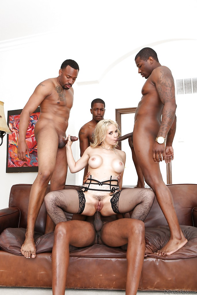 Big black dick penetrates white slut