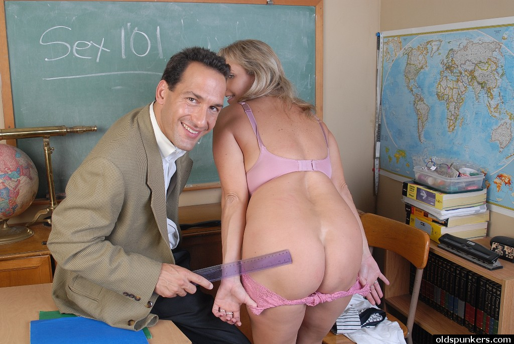 Mature teacher strips