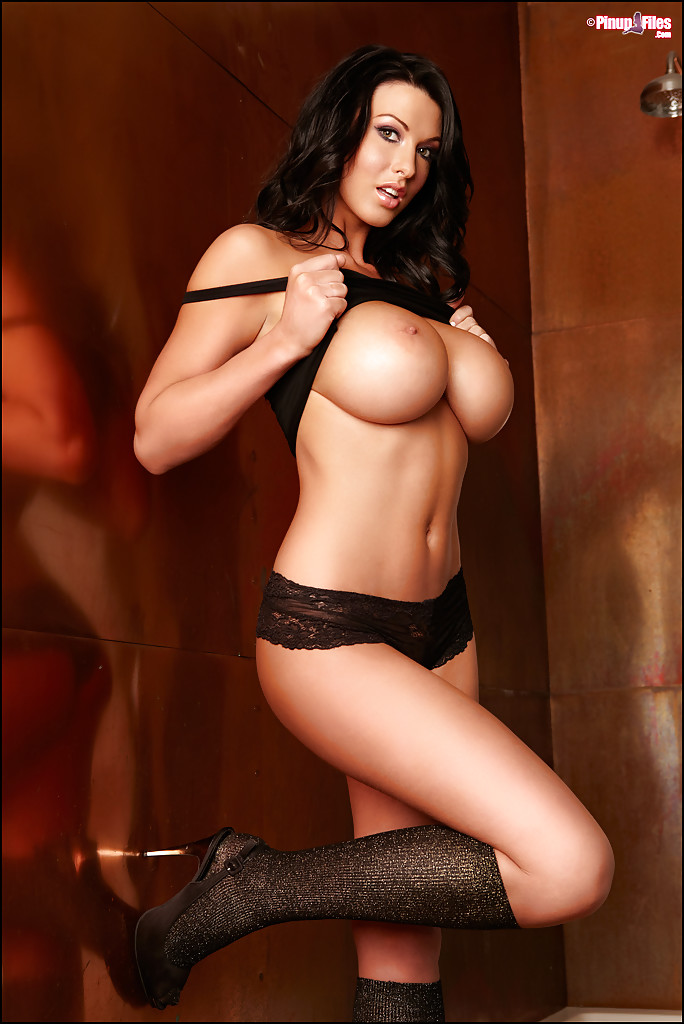 ... Busty brunette model Alice Goodwin unleashes all natural boobs ...