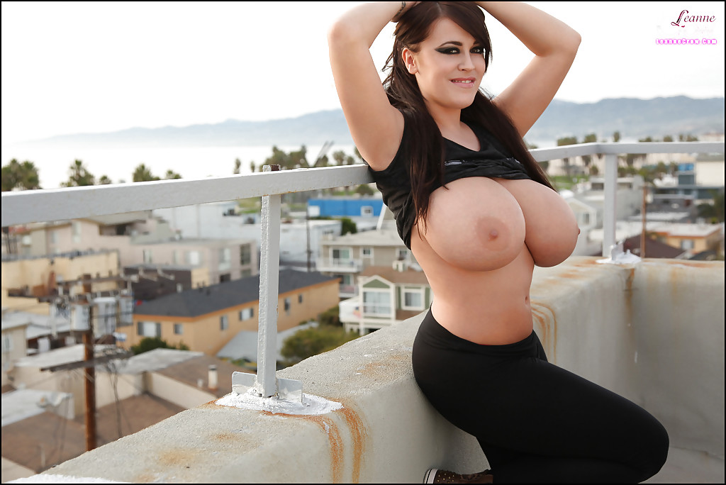 Showing huge tits in public