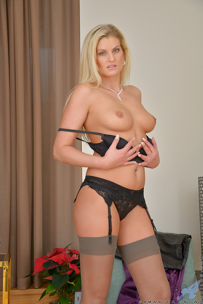 Sexy blonde milf pantyhose something