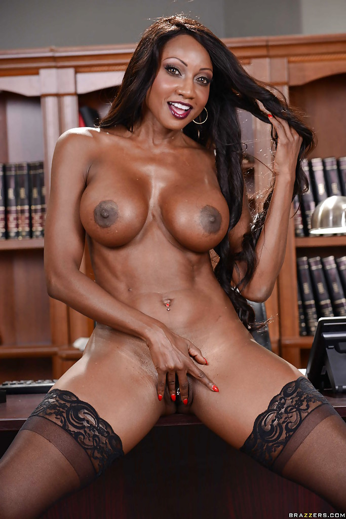 black milf solo - ... Busty ebony MILF Diamond Jackson poses solo with fingers in black cunt  ...