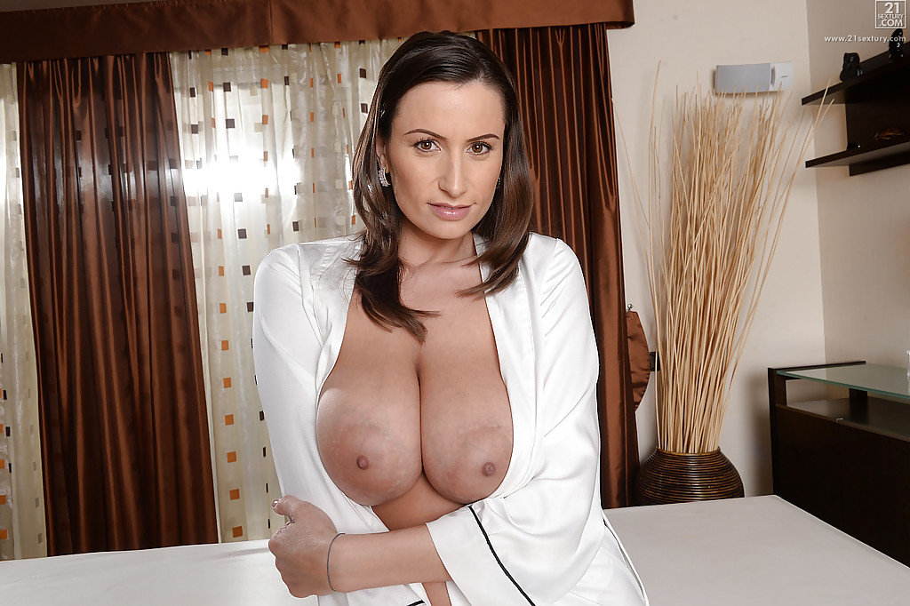 White robe enormous tits shower