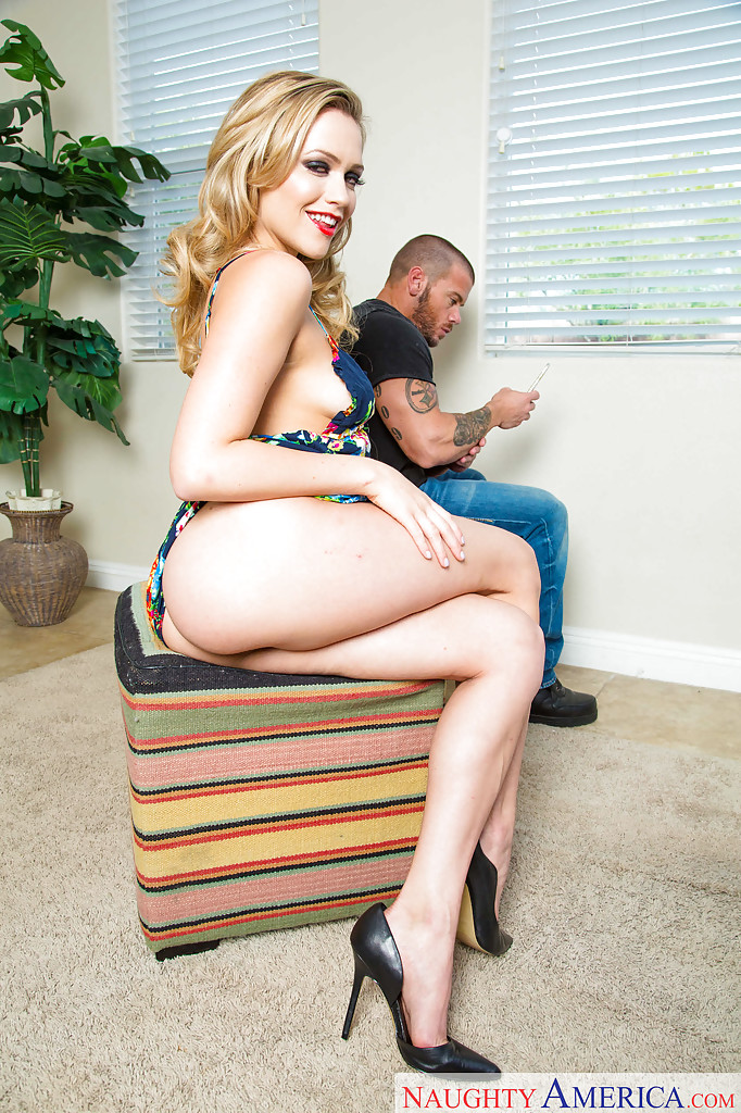 Blond upskirt banged fully clothed