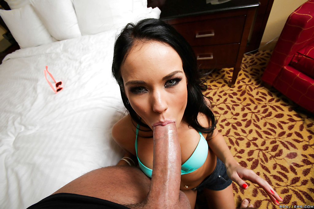 Hot young brunette play with a dildo 9