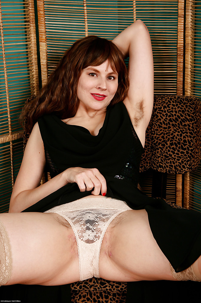 Hairy mature in white panties and stockings