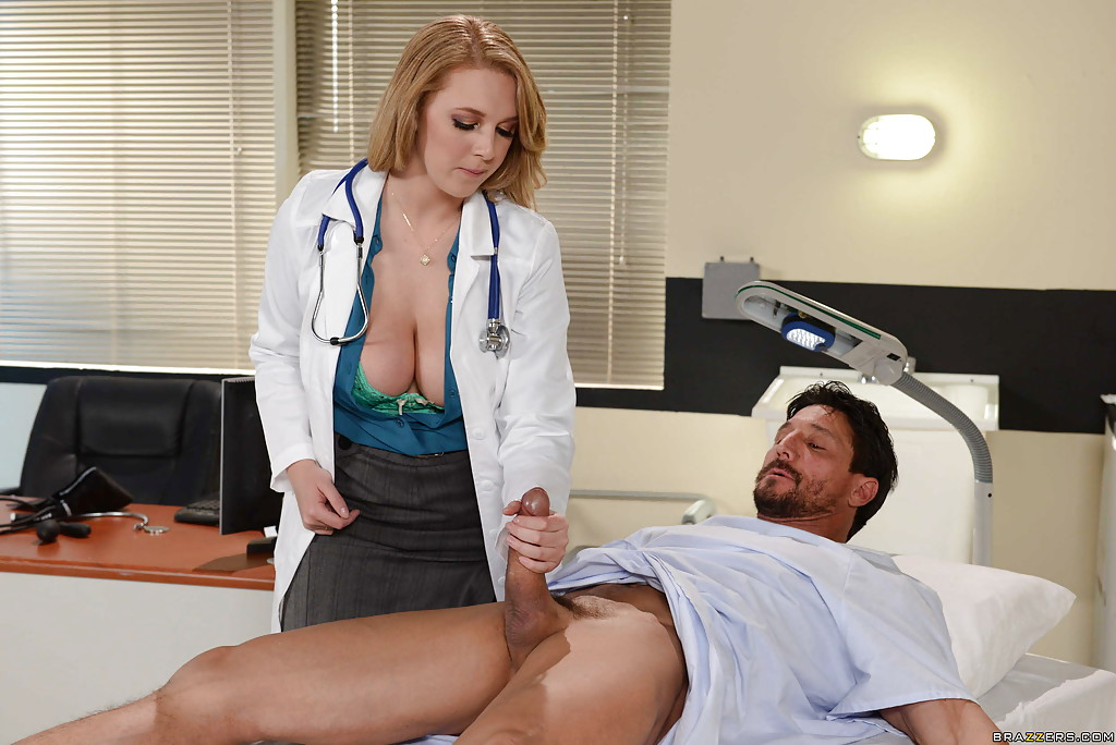 Curvy Doctor Brooke Wylde Jacking Off Her Patient S Thick Penis