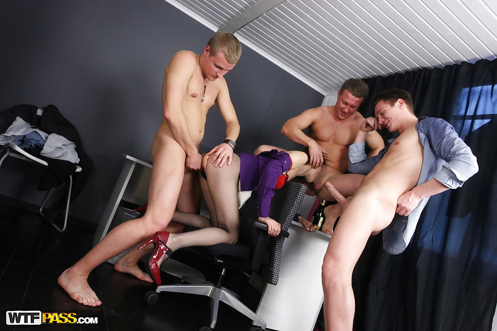 Slut gets gang banged at work
