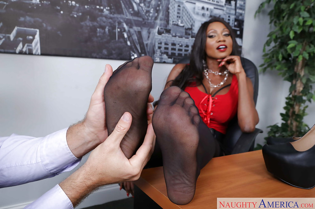Ebony foot licking