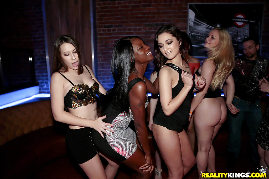 Interracial lesbian sex and more in crazy pornstar swinger's convention ...