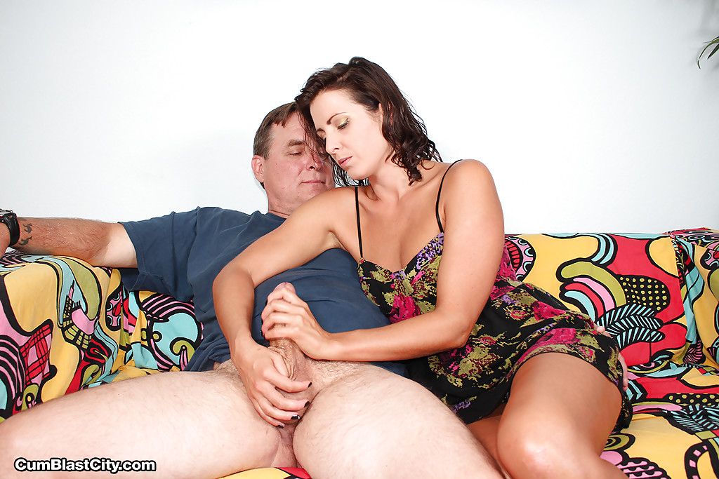 Mature women giving handjob