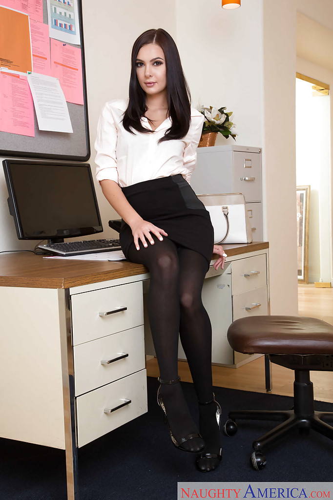 black ass stockings standing - Brunette babe Marley Brinx wearing black stockings and skirt in office ...