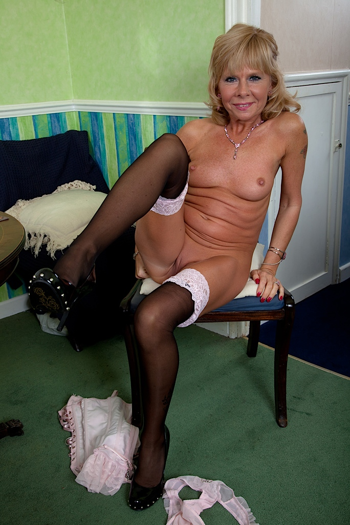 Stockings hairy skinny gilf that