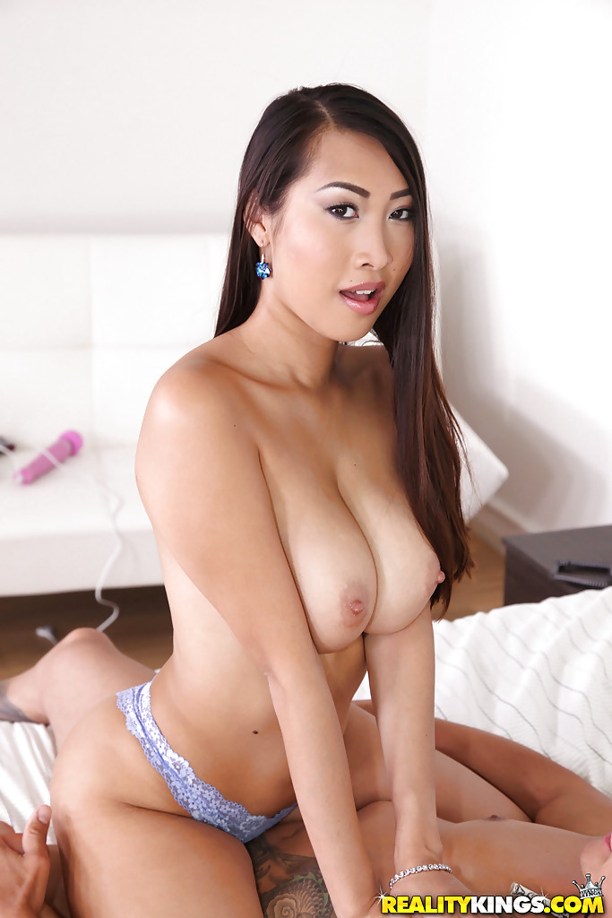 Cum on big asian tits