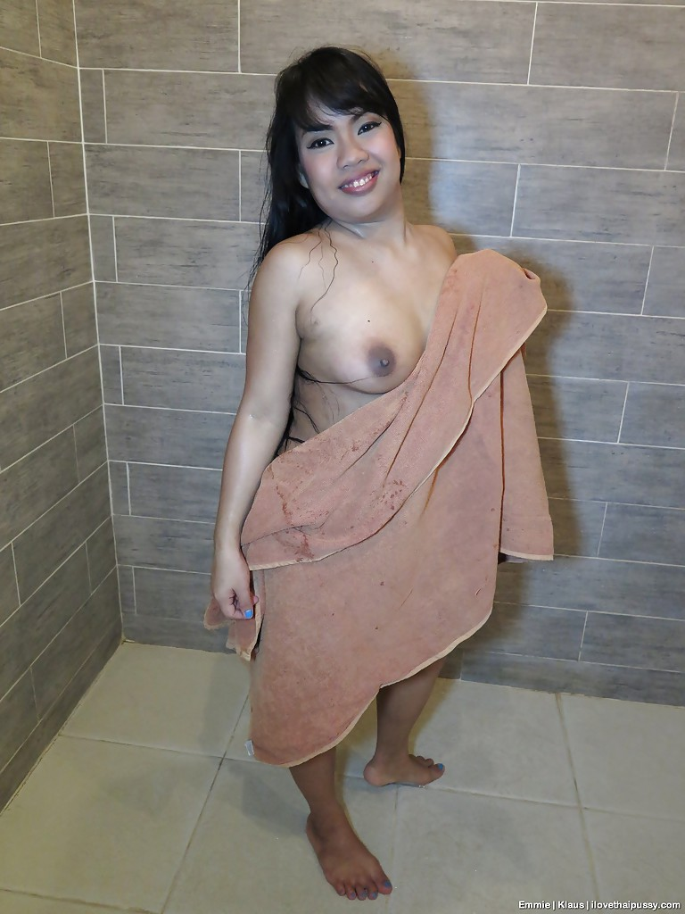 emmie-model naked 1 ... Chubby Thai chick Emmie lets nice tits loose and proceeds to masturbate  ...