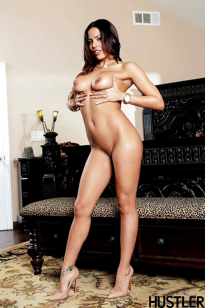 With heels high nude Latinas