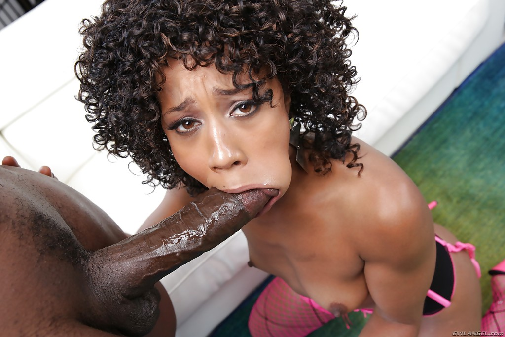 Ebony Sloppy Double Blowjob