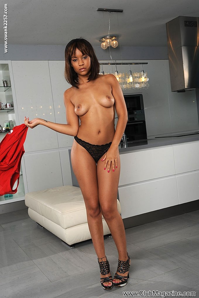 Kiwi black pornstar red dress