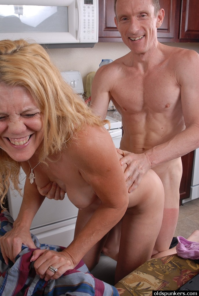 Older blonde housewife Lori is stripped naked by horny