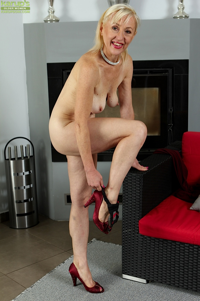 Mature blond skinny