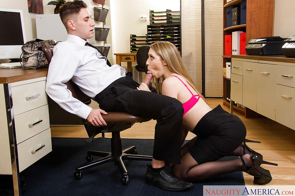 Man getting blow job desk