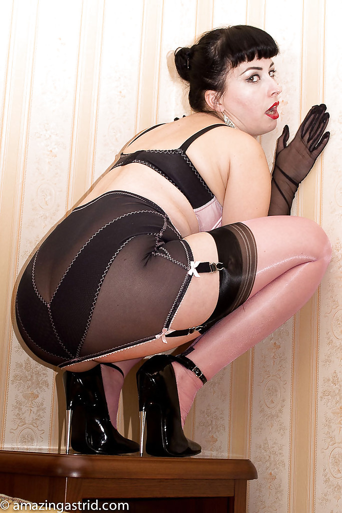 Mature girdled nylons