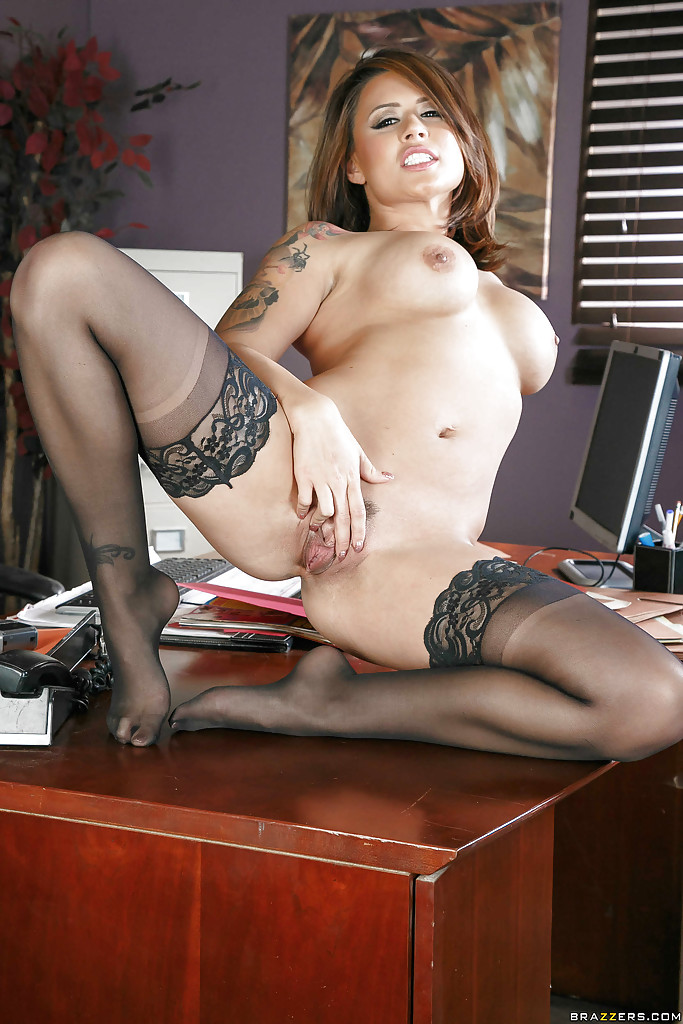 cute latina milf - ... Cute Latina MILF Eva Angelina posing nude in black stockings at work ...