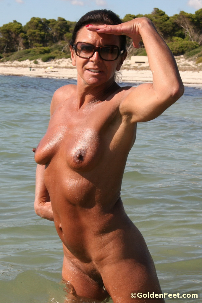 Mature beach nudist long the art teacher