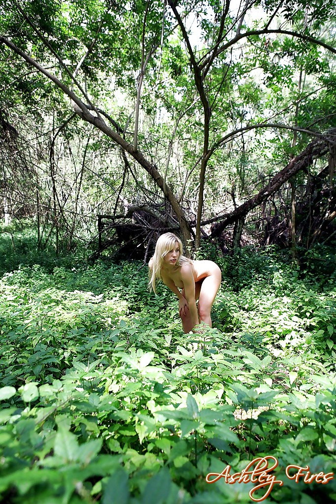... Hot blonde first timer Ashley Fires undressing for masturbation in woods  ...