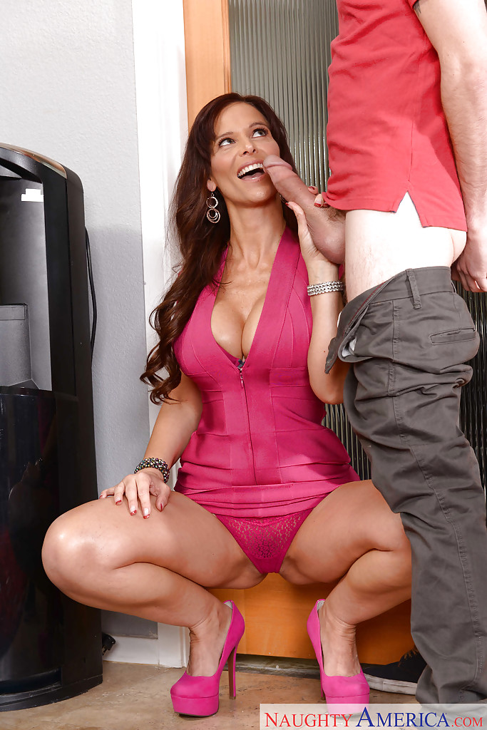 ... Chesty cougar Syren De Mer flashing upskirt panties while giving blowjob  ...